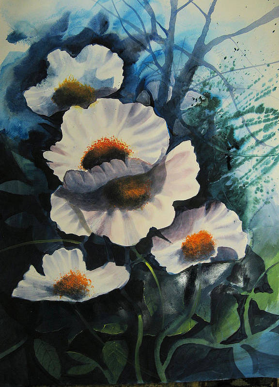 Floral Print featuring the painting Poppies by Robert Carver