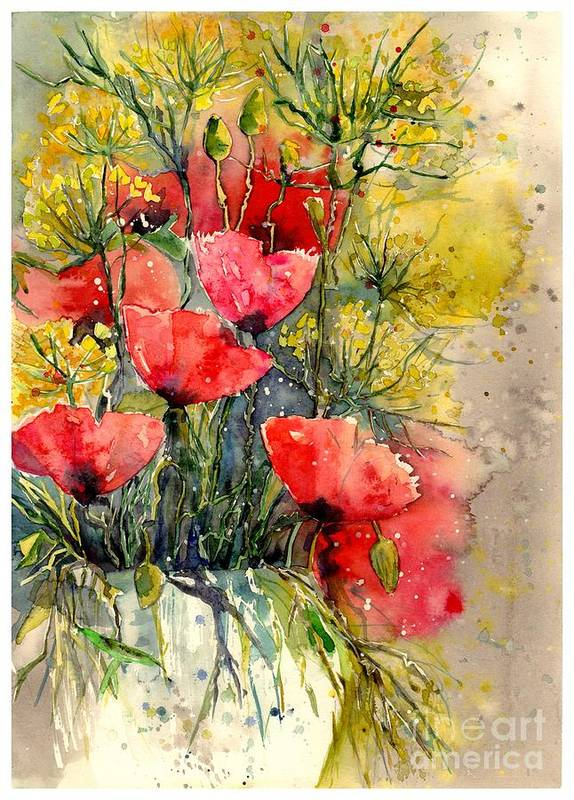 Red Art Print featuring the painting Poppy Impression by Suzann Sines