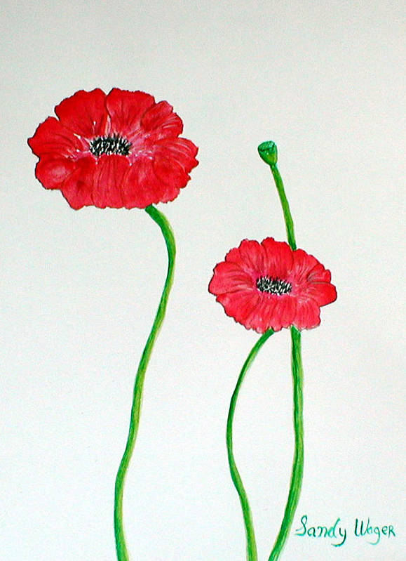 Poppy Art Print featuring the painting Poppy by Sandy Wager