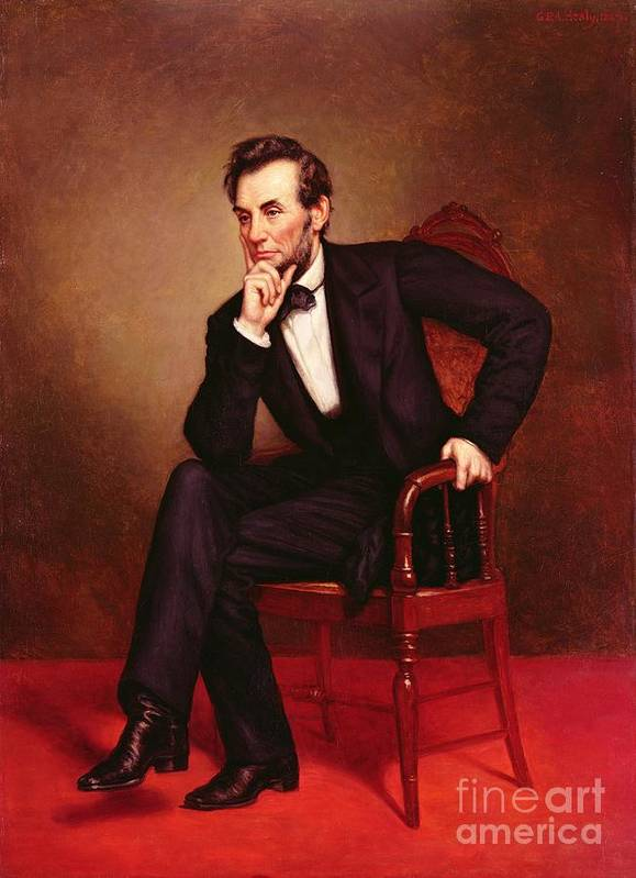 Portrait Of Abraham Lincoln (oil On Canvas) By George Peter Alexander Healy (1808-94) Print featuring the painting Portrait Of Abraham Lincoln by George Peter Alexander Healy