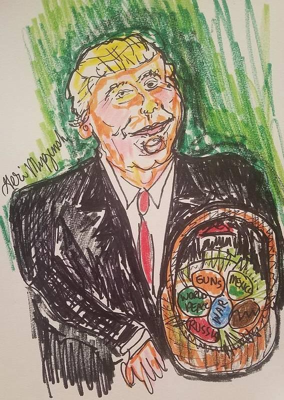 Donald Trump Art Print featuring the painting President Trump by Geraldine Myszenski
