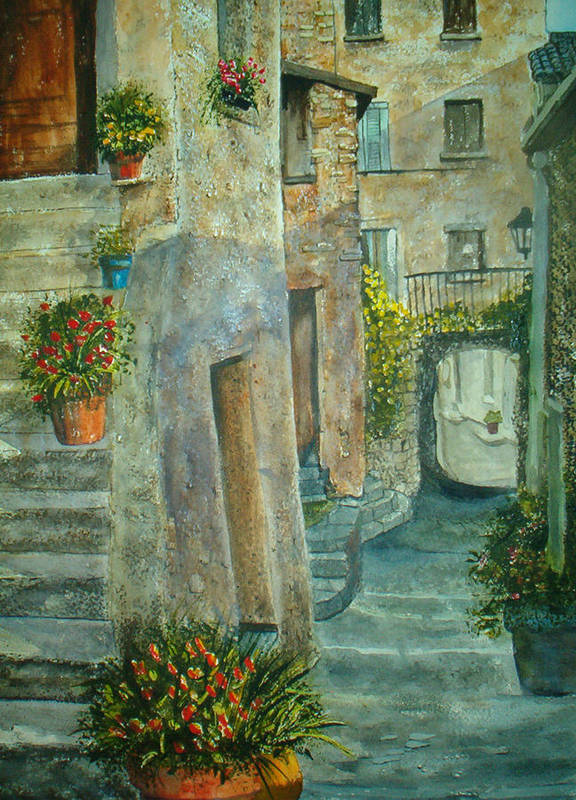 Landscape Art Print featuring the painting Provence Alley by Shirley Braithwaite Hunt