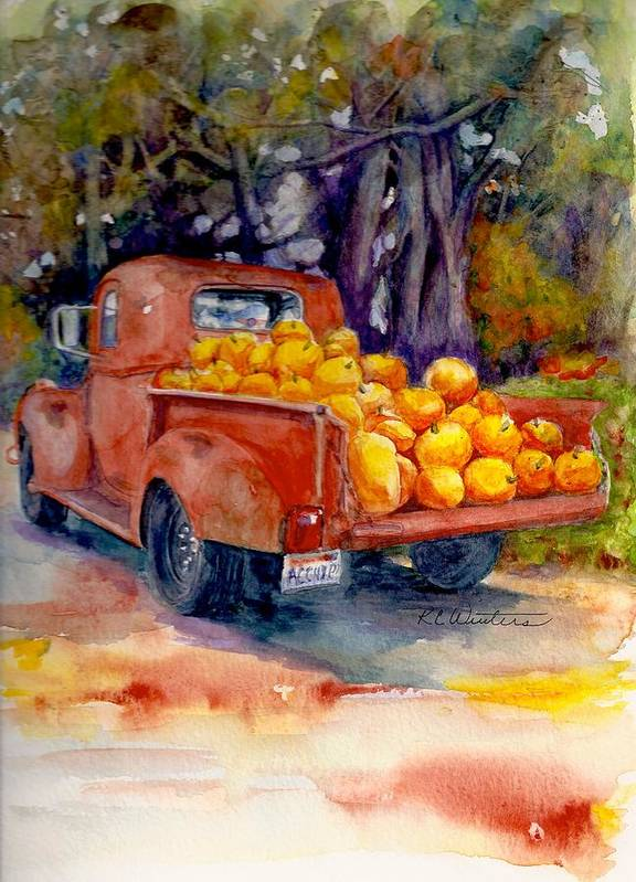 Pacific North West Art Print featuring the painting Pumpkin Truck by KC Winters