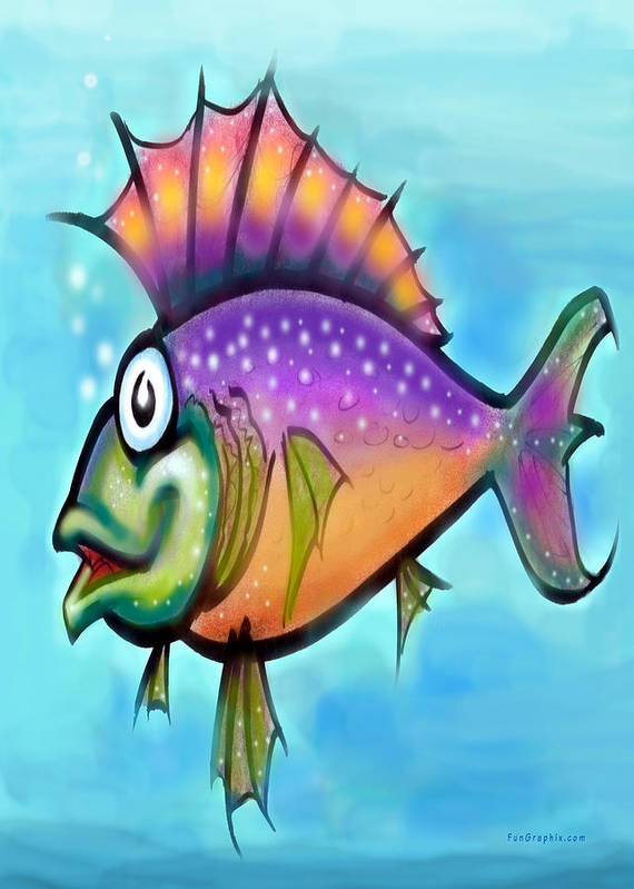 Fish Art Print featuring the greeting card Rainbow Fish by Kevin Middleton