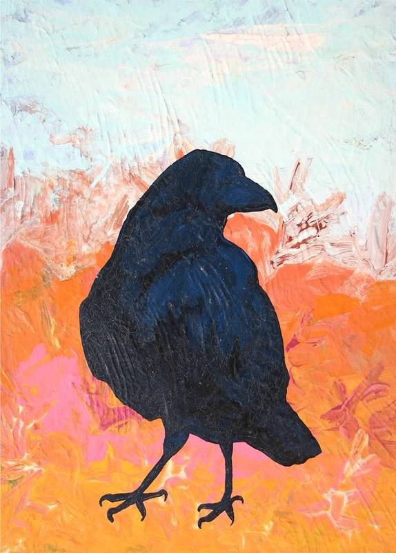 Raven Art Print featuring the painting Raven IIi by Dodd Holsapple