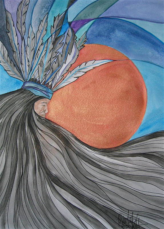 Original Art Art Print featuring the mixed media Raven's Hair by K Hoover