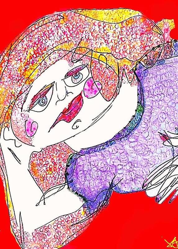 Woman Art Print featuring the digital art Red by Joyce Goldin