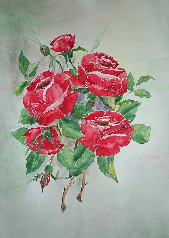 Roses Flowers Art Print featuring the painting Red Morning Roses by Irenemaria