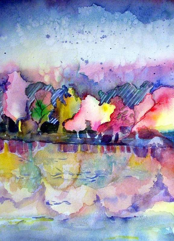 Landscape Art Print featuring the painting Reflections by Mindy Newman