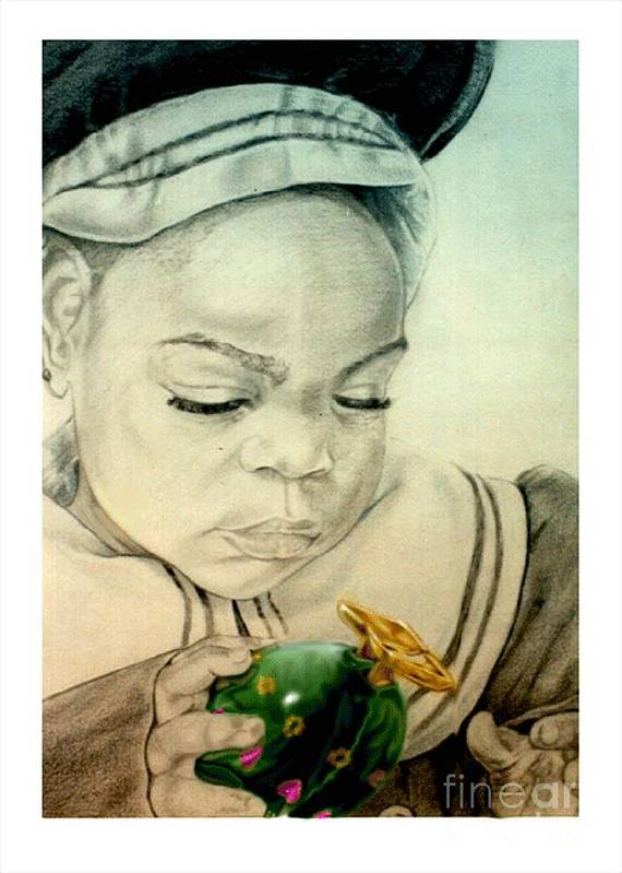 Child Art Print featuring the drawing Regi by Reggie Duffie