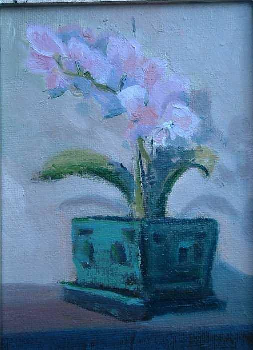Sill Life Given As Gift For Kaiser Permanente Retirement..the Orchid Was Given To My Wife Shirl..  Art Print featuring the painting Retirement Orchid...sold by Bryan Alexander