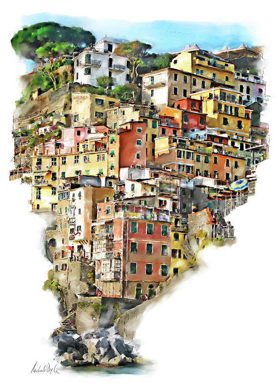 Italy Paintings Art Print featuring the painting Riomaggiore by Michael Doyle