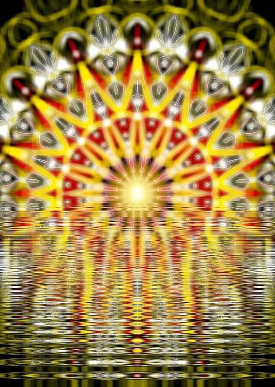 Rising Art Print featuring the digital art Rising Sun Mandala by Michael African Visions