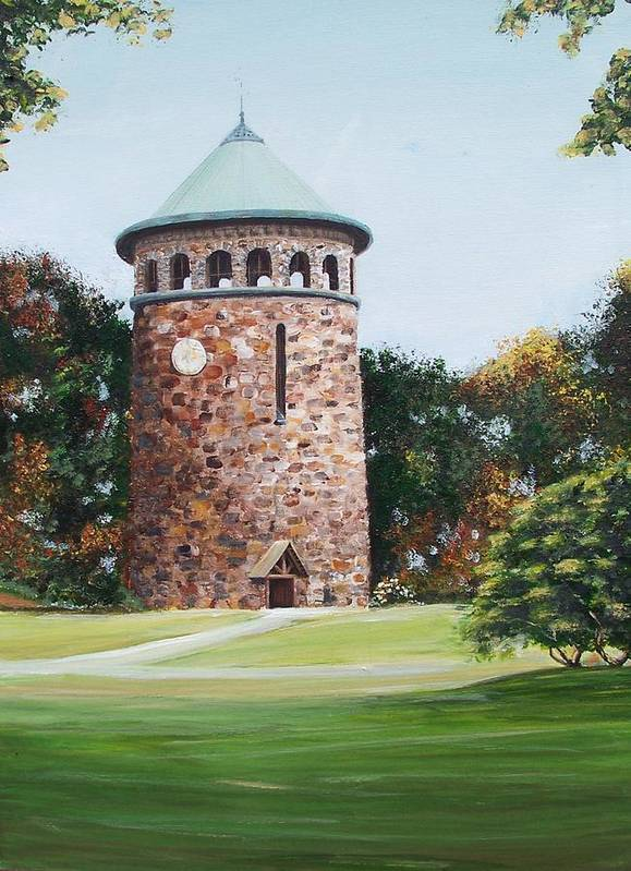 Historic Delaware Art Print featuring the painting Rockford Tower by Ronald Lightcap
