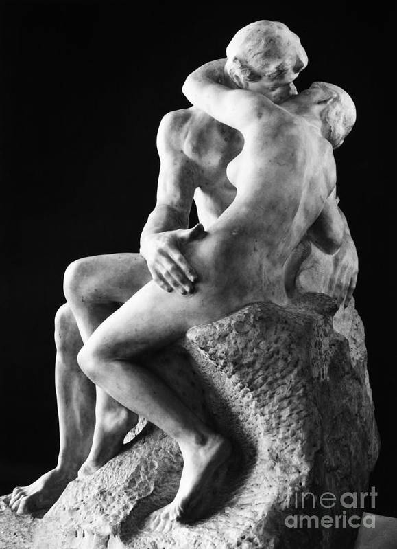 1886 Art Print featuring the photograph Rodin: The Kiss, 1886 by Granger