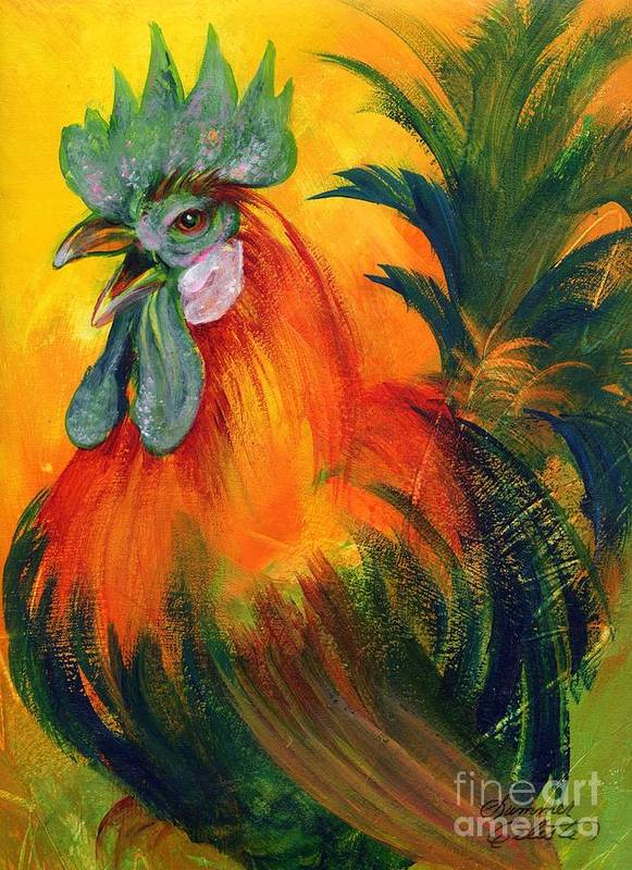 Rooster Art Print featuring the painting Rooster Of Another Color by Summer Celeste