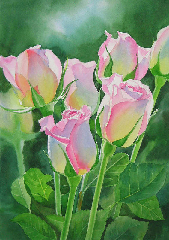 Rose Art Print featuring the painting Rose Array by Sharon Freeman