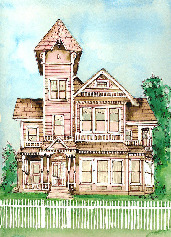 Victorian Inn Art Print featuring the painting Rose Victorian Inn - Arroyo Grande Ca 1886 by Arline Wagner