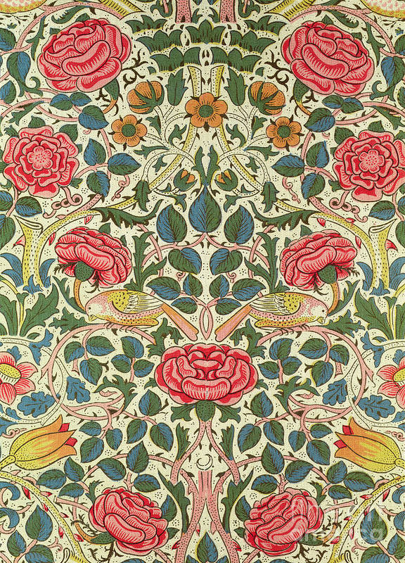 Arts And Crafts Movement; Floral; Pattern; Chintz Art Print featuring the painting Rose by William Morris