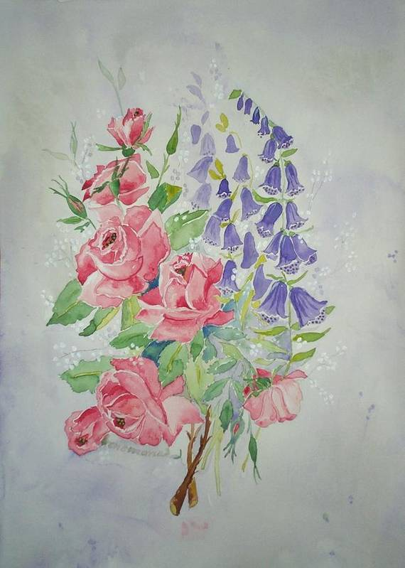 Roses Flowers Art Print featuring the painting Roses And Digitalis by Irenemaria Amoroso