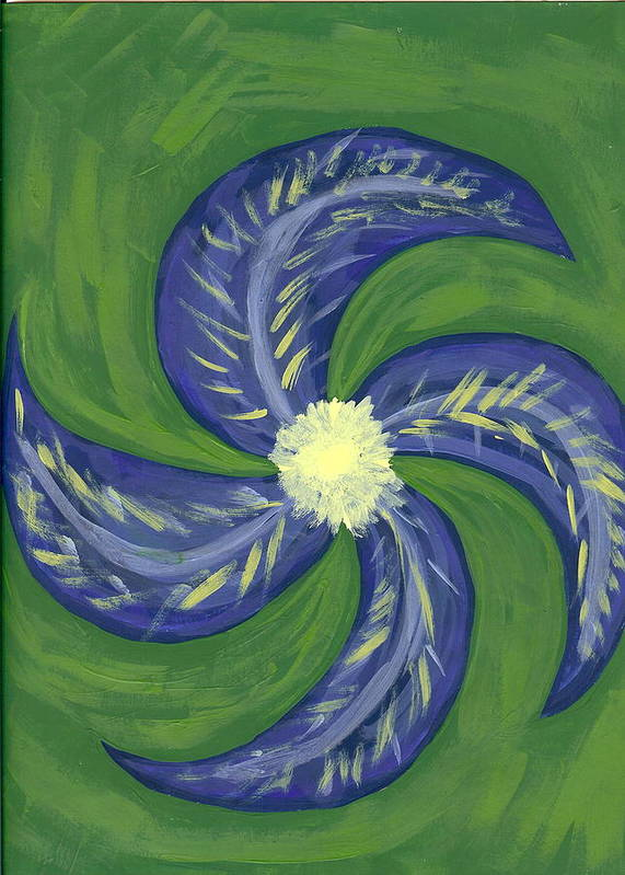 Flower Art Print featuring the painting Round And Round by Laura Lillo