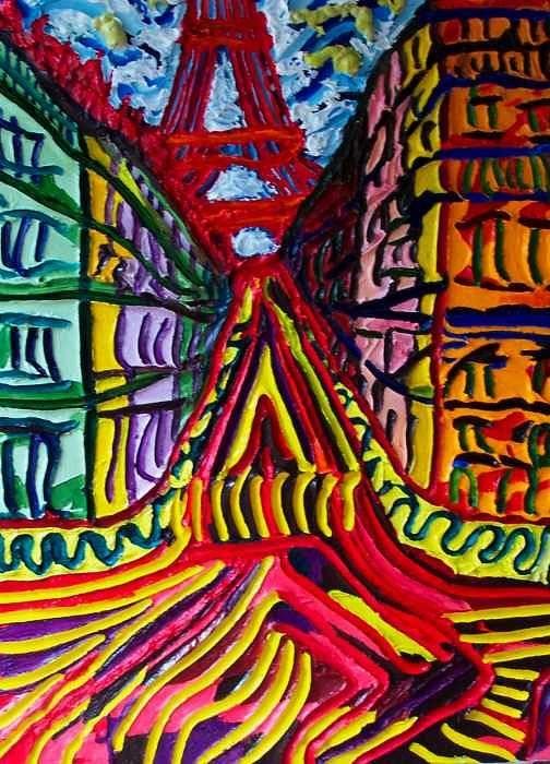 Eiffel Tower Art Print featuring the painting Rue De Paris by Ira Stark