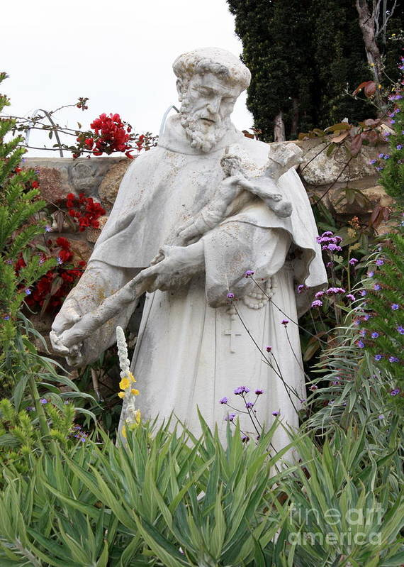 Saint Francis Art Print featuring the photograph Saint Francis Statue In Carmel Mission Garden by Carol Groenen