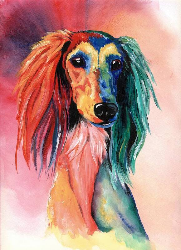 Saluki Art Print featuring the painting Saluki Sunset by Kathleen Sepulveda