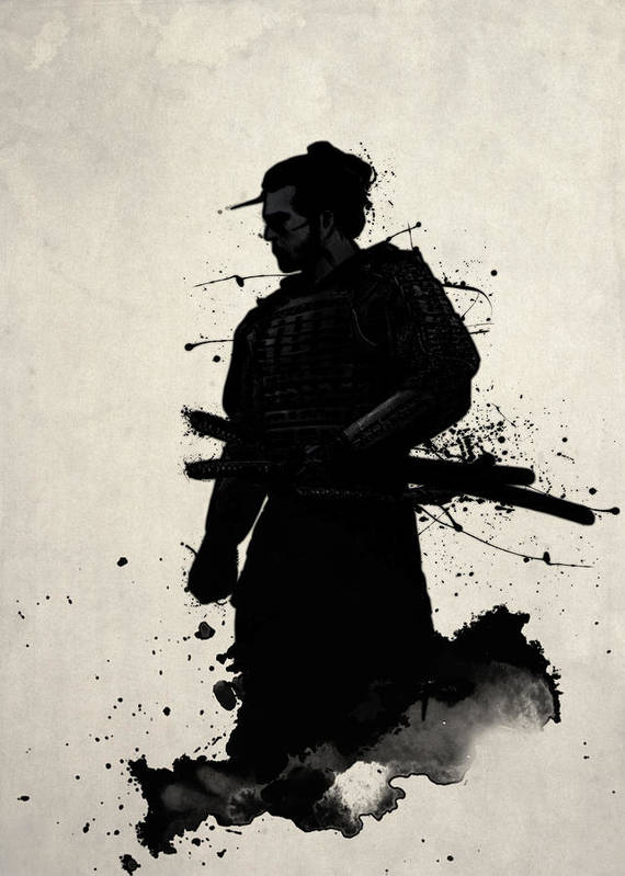 Samurai art print featuring the painting samurai by nicklas gustafsson