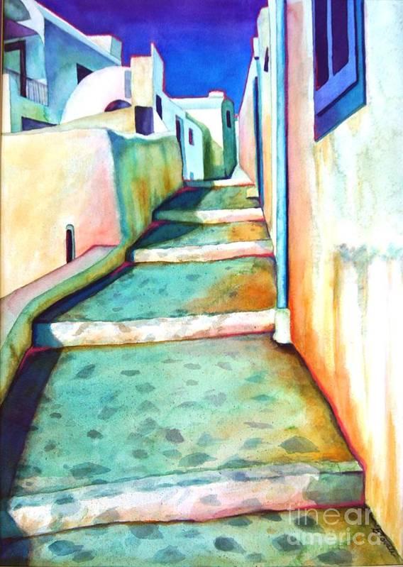 Santorini Art Print featuring the painting Santorini Steps by Gail Zavala