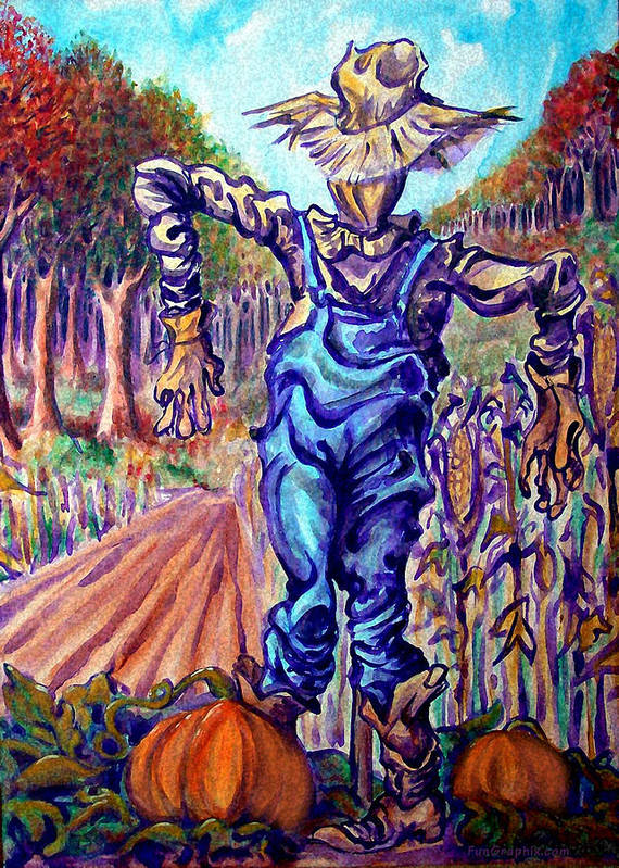 Scarecrow Art Print featuring the painting Scarecrow by Kevin Middleton