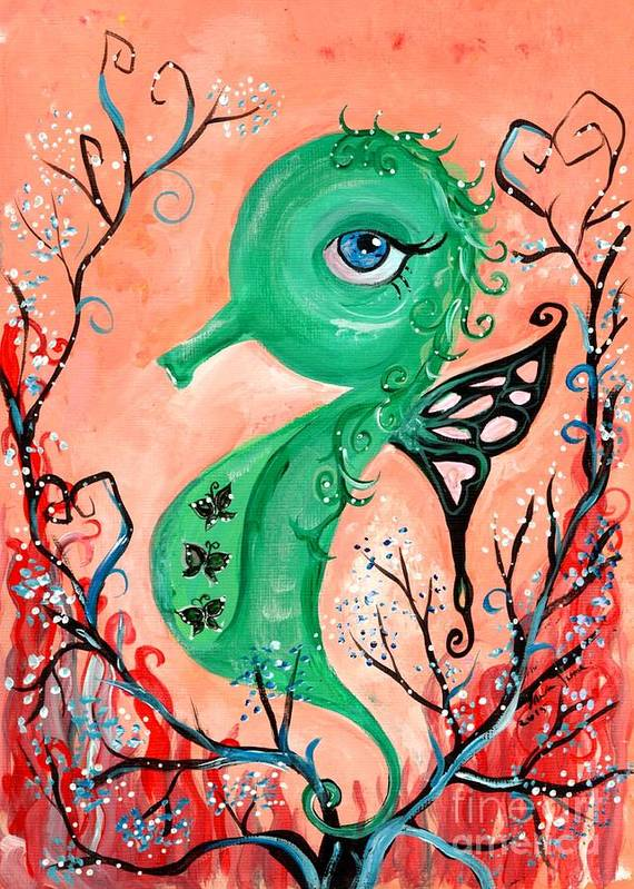 Green Seahorse Art Print featuring the painting sea horse -In Love by Mrs Wilkes Art