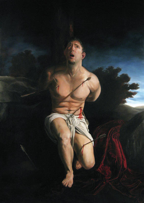 Saint Sebastain Art Print featuring the painting Self Portrait As St. Sebastian by Eric Armusik