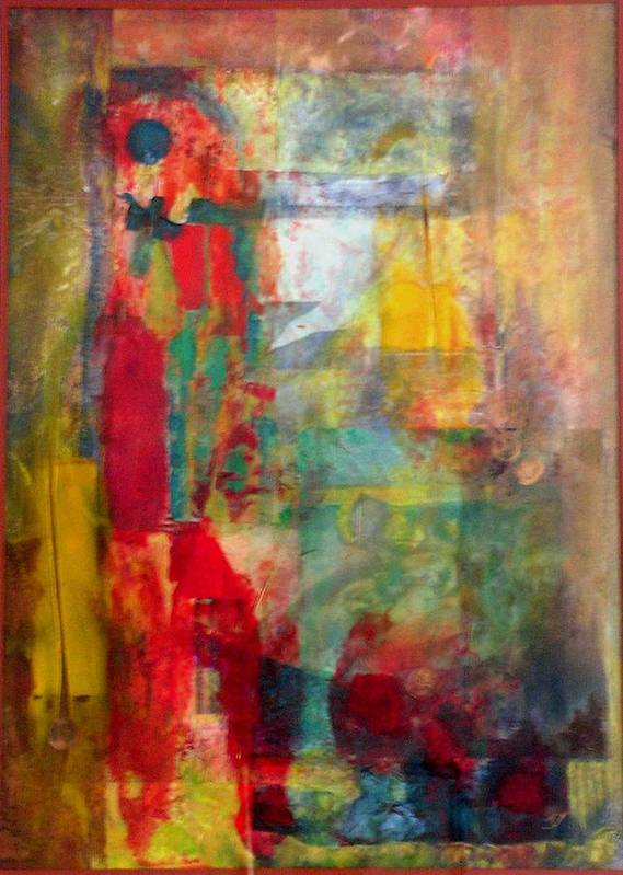 Abstract Art Print featuring the painting Shoot The Moon by John Vandebrooke
