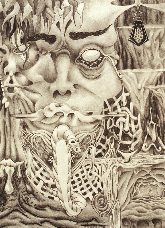 Dragon Art Print featuring the drawing Shudders by Sean Imler