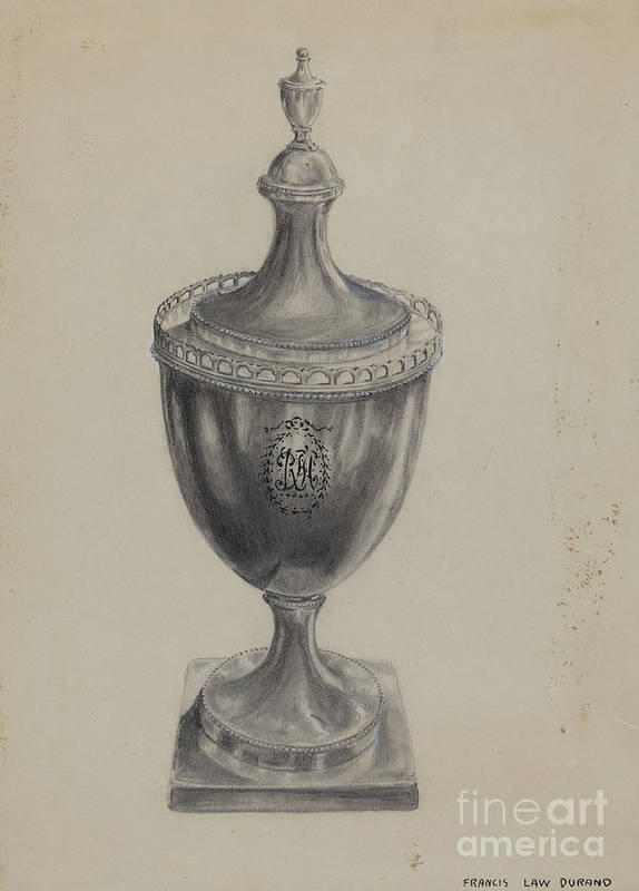 Art Print featuring the drawing Silver Sugar Bowl by Francis Law Durand