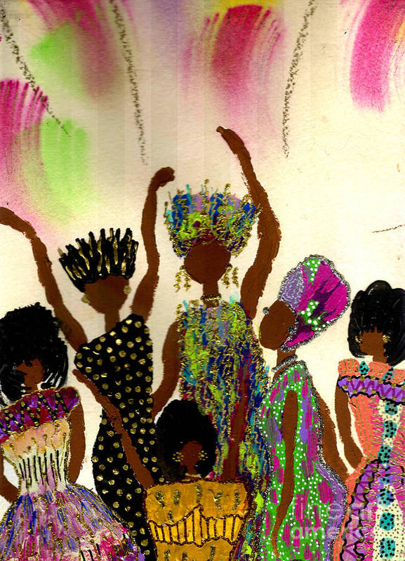 Vibrant Art Print featuring the painting Sisterhood by Angela L Walker