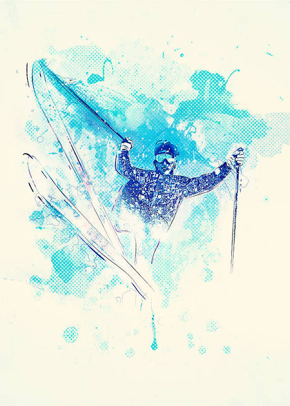 Ski Art Print featuring the mixed media Skiing Down The Hill by BONB Creative