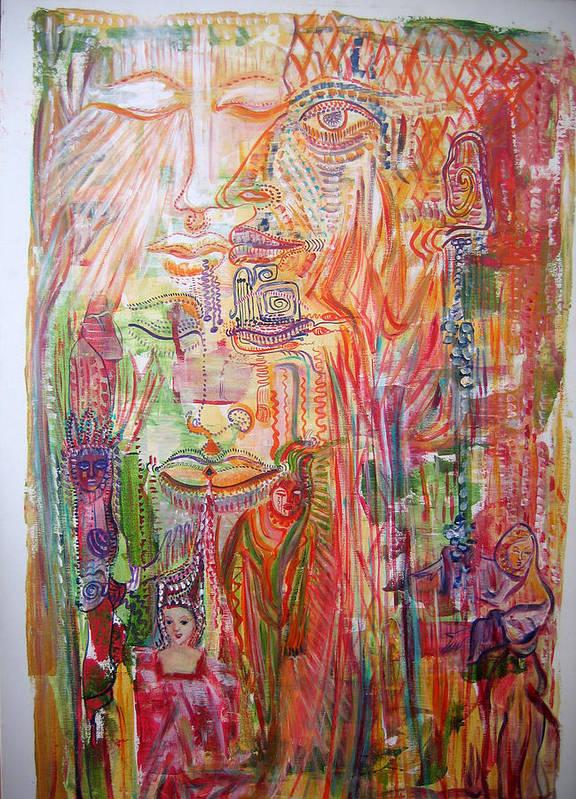 Past Lifes Art Print featuring the painting Souvenirs by Helene Champaloux-Saraswati