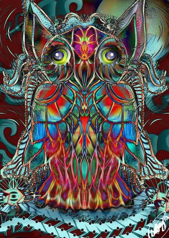 Stained Glass Art Print featuring the digital art Stained Glass Owl by Aixa Olivo