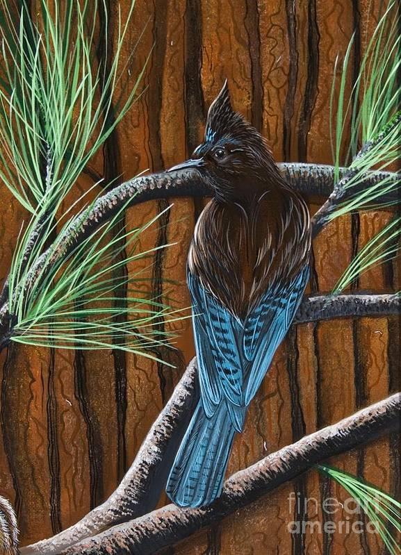 Bird Art Print featuring the painting Stellar Jay by Jennifer Lake