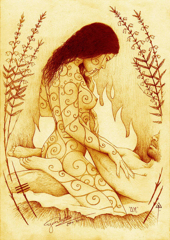 Lovers Art Print featuring the drawing Stoking The Fire by Yuri Leitch