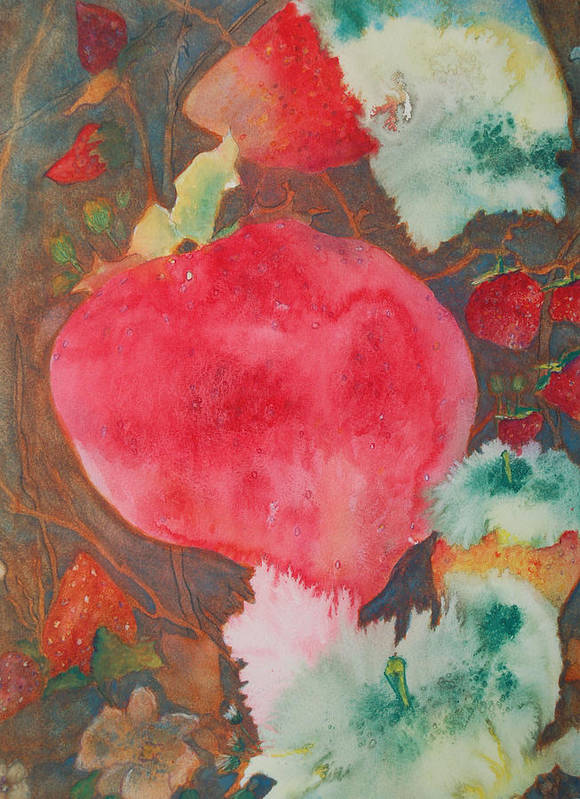 Strawberry Field Art Print featuring the painting Strawberry Field by Henny Dagenais