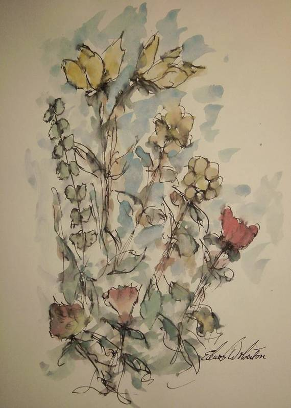 Floral Art Print featuring the painting Study Of Flowers O by Edward Wolverton