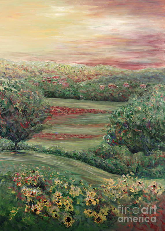 Landscape Art Print featuring the painting Summer In Tuscany by Nadine Rippelmeyer