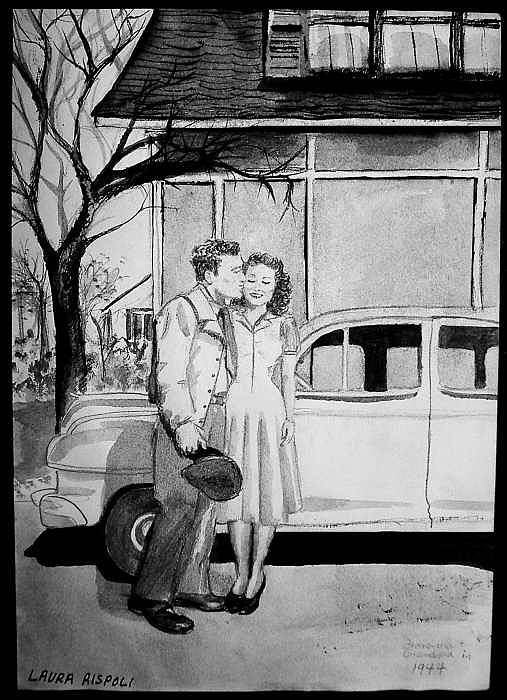 Couple Art Print featuring the painting Sweet Memory by Laura Rispoli