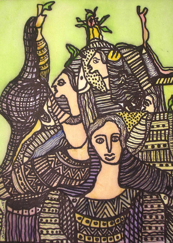 Abstract Art Art Print featuring the painting Tapestry Of Life by Nabakishore Chanda