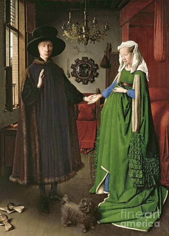 The Art Print featuring the painting The Arnolfini Marriage by Jan van Eyck