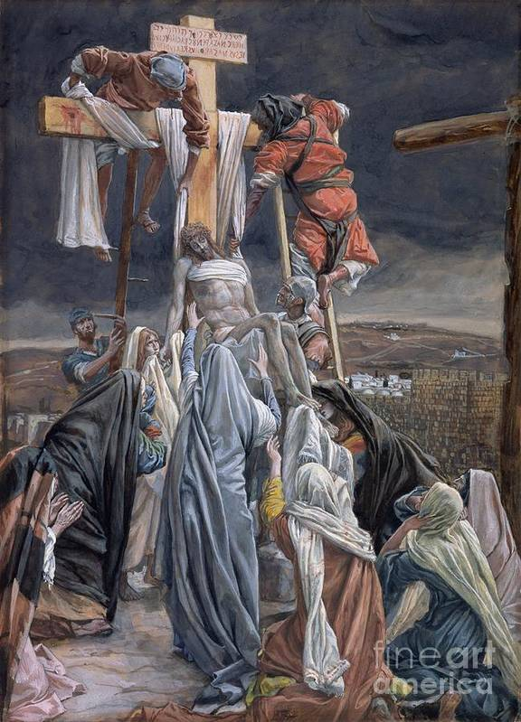 The Art Print featuring the painting The Descent From The Cross by Tissot