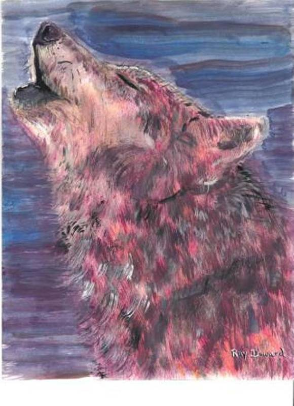 Wildlife Wolves Moonlight Animals Wildlife Portraits Night Howling Wolf Art Print featuring the painting The Howling 1 by Raymond Doward
